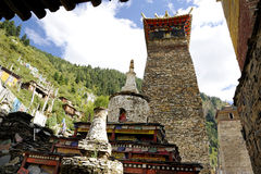 Pagodas and Maitreya stupas in the monastery Royalty Free Stock Photos