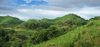 Pagodas in Mrauk U, sub region of the Sittwe District, Rakhine State, Myanmar. Stock Photo