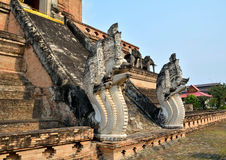 Pagodas and na-ga Wat Chedi Luang Stock Images