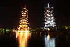 Pagodas at Night Royalty Free Stock Photo
