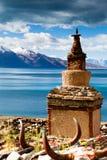 Pagodas in north lake shore of  Tangri Yumco Royalty Free Stock Images