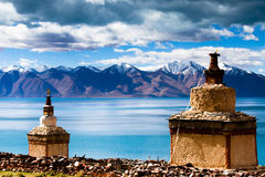 Pagodas in north lake shore of  Tangri Yumco Stock Photos