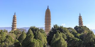 Pagodas park in Dali. Yunnan Province , China Royalty Free Stock Photos