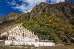 Pagodas saintes dans le temple tibétain avec la forêt colorée sur la montagne photos libres de droits