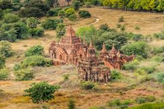 Pagodas and spires of the temples in Bagan, Myanmar. Pagodas and spires of the temples of the World Heritage at Bagan, Maynmar Stock Image