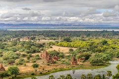 Pagodas and spires of the temples in Bagan, Myanmar. Pagodas and spires of the temples of the World Heritage at Bagan, Maynmar Royalty Free Stock Images