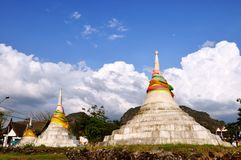 Pagodas three in Kanchanaburi, Thailand Stock Photos