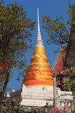 The pagodas tied with gold fabric Stock Image