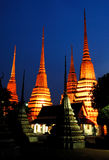 The pagodas of Wat Pho temple Royalty Free Stock Images