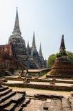 Pagode antigo dos palácios em Ayutthaya, Tailândia Imagem de Stock Royalty Free