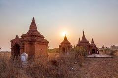 Pagode di Bagan al tramonto Fotografie Stock Libere da Diritti
