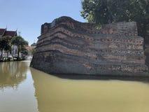 Pagode dourado no céu azul do templewith tailandês foto de stock royalty free