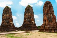 Pagode drie heeft mooi aan openlucht in ayutthaya royalty-vrije stock fotografie