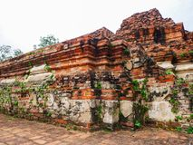 Pagode e ruínas a parede antiga velha Imagens de Stock Royalty Free