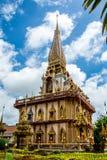 Pagode em Wat Chalong ou no templo de Chalong, Phuket Tailândia Foto de Stock Royalty Free