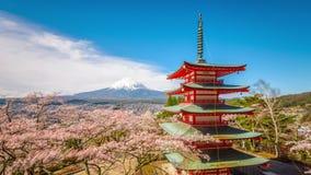 Pagode en Fuji in de Lente