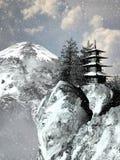 Pagode en sneeuw stock afbeelding