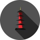 Pagode in flachem Design Japans stockfotografie