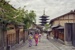 Pagode in Kyoto in Ninenzaka en Sannenzaka stock foto's