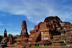 Pagode met blauwe hemel in Ayutthaya, Thailand Royalty-vrije Stock Afbeeldingen