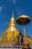 Pagode no templo de Prathat Hariphunchai na província de Lamphun Imagem de Stock