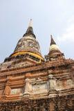 Pagode no templo de Wat Chaiwattanaram, Ayutthaya, Tailândia Imagens de Stock Royalty Free