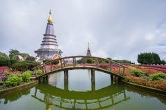 Pagode op de bovenkant van Inthanon-berg, Chiang Mai, Thailand Stock Foto