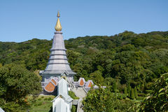 Pagode op moutain, het Nationale Park van Doi Inthanon, Thailand Royalty-vrije Stock Foto's