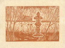 Pagode - Sepia original do bloco xilográfico Fotos de Stock Royalty Free