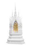 Pagode in Thaise tempel op witte achtergrond Stock Foto
