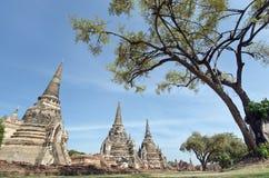 Pagode velho com o céu nebuloso em Tailândia Imagens de Stock