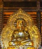 Pagode Vietnams Chua Bai Dinh: Riesige goldene Buddha-Statue im Temp Lizenzfreie Stockfotos