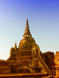 Pagoden av den gamla templet på det Ayuthaya landskapet som är historisk parkerar Thailand Arkivbild