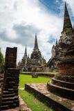 Pagoden i historiska Ayutthaya parkerar royaltyfri fotografi