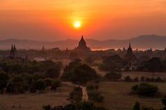 Pagodenfeld bei Sonnenaufgang Bagan, Myanmar Stockbild