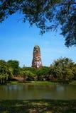 Pagodowy i wodny kanał, Ayutthaya Fotografia Stock