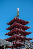Pagonda rosso del tempio del Giappone Fotografia Stock Libera da Diritti