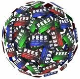 Pagos de dinero del préstamo del préstamo de las cargas ocultas de las tarjetas de crédito de las tarifas Fotografía de archivo libre de regalías
