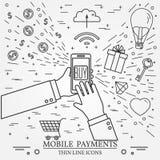 Pagos móviles usando un smartphone Concepto en línea de las compras para Fotos de archivo libres de regalías