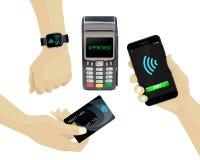 Pagos sin contacto fijados Terminal de la posición, smartphone, tarjeta de crédito, libre illustration