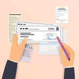Pagos y operaciones financieras control de banco de firma Desi plano ilustración del vector