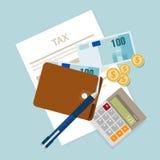 Pague el cálculo de la moneda de los impuestos de renta del icono del dinero de impuestos del impuesto Imágenes de archivo libres de regalías