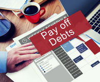 Pague fora a falência Bill Credit Concept do dinheiro do empréstimo dos débitos foto de stock royalty free