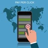 Pague pelo clique, telefone celular, ilustração do vetor Foto de Stock