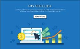 Pague por el concepto del márketing de Internet del tecleo - ejemplo plano Publicidad y conversión del PPC ilustración del vector
