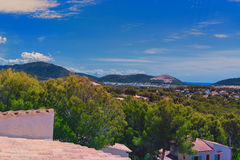 Paguera in the background Badia de Palma. Panoramic view from Paguera towards the Bay of Palma, Mallorca stock photo