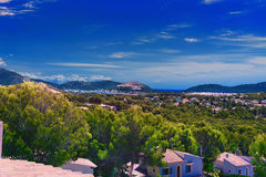 Paguera in the background Badia de Palma. Panoramic view from Paguera towards the Bay of Palma, Mallorca stock image
