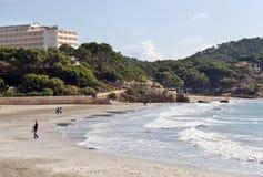 Paguera beach, Majorca. Beautiful empty beach at the coast of Paguera on Spanish balearic island Majorca (Spanish and Catalan: Mallorca stock image