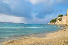 Paguera beach, Mallorca. Beautiful empty beach of Paguera and dramatic sky on Spanish balearic island Majorca (Mallorca stock image