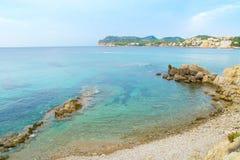 Paguera beach, Mallorca. Clear blue waters and sand on Paguera beach, Spanish balearic island Majorca (Mallorca Stock Photos